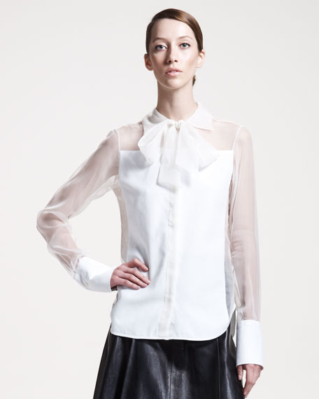 Tie-Neck Sheer-Inset Silk Blouse