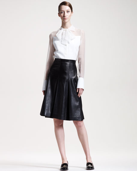 Pleated Leather A-Line Skirt