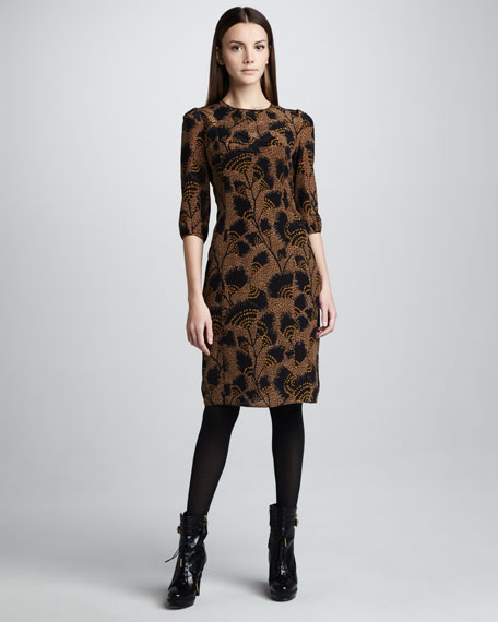 Feather-Print Silk Dress