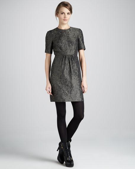 Short-Sleeve Jacquard Dress