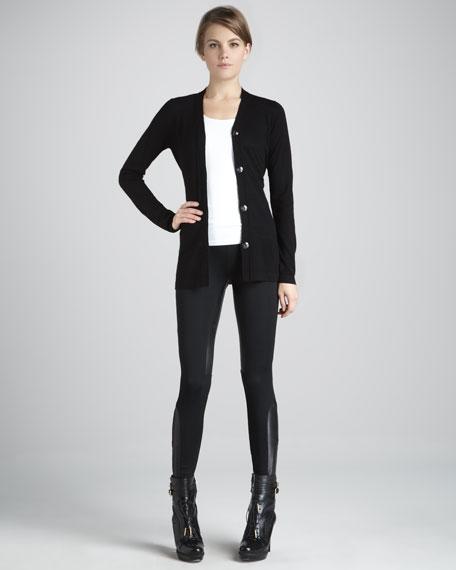 Jersey/Leather Corset Leggings