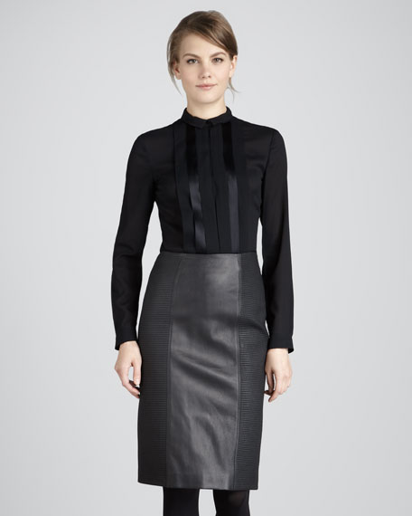 Rib-Panel Leather Pencil Skirt