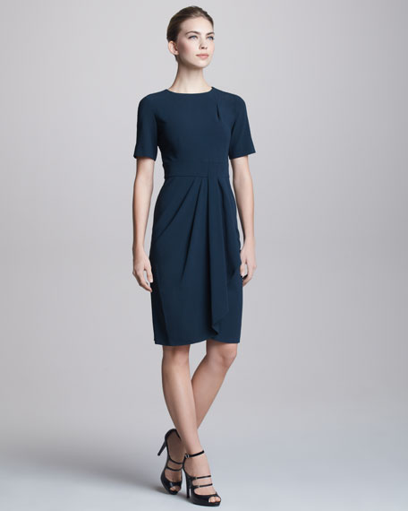 Short-Sleeve Faux-Wrap Dress
