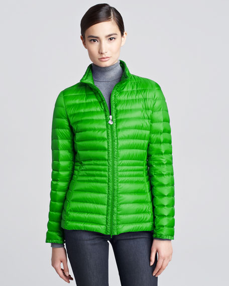 Contour-Quilted Hip-Length Puffer Jacket, Citrus