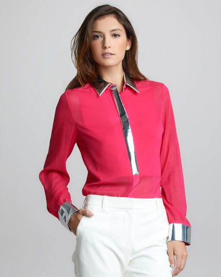 Metallic-Trim Silk Shirt