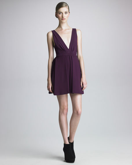 Tech Jersey Plunging-Neckline Dress