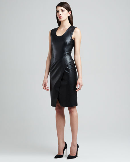 Envelope-Skirt Lambskin Leather Dress