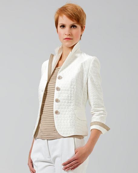 Grosgrain-Trimmed Jacquard Jacket, Ecru