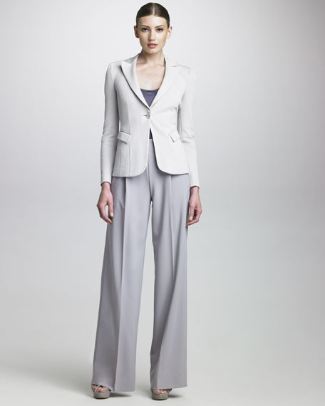 Pleated-Front Wide-Leg Pants