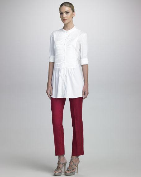Cropped Linen Gabardine Pants