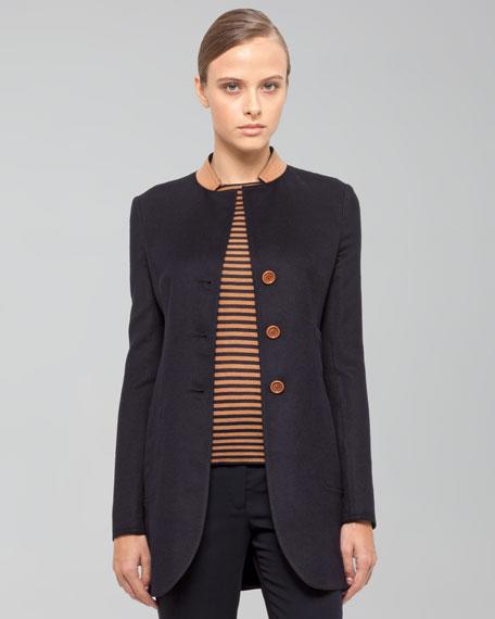Leather-Collar Jacket, Navy