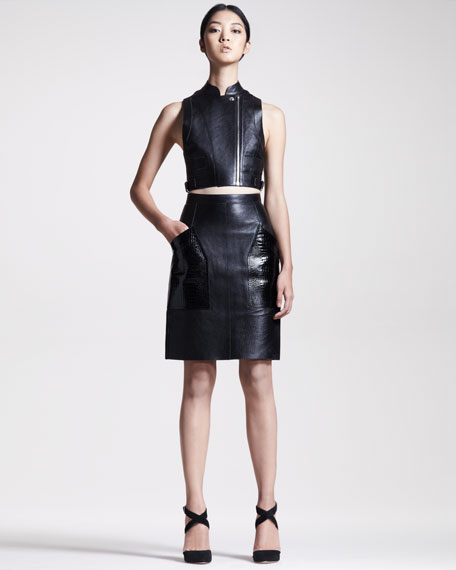 Embossed-Pocket Leather Skirt