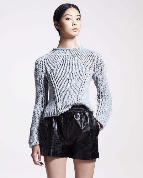 Croc-Embossed Leather Shorts