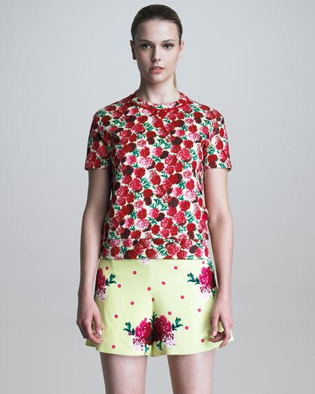 Floral & Polka-Dot Crepe Shorts