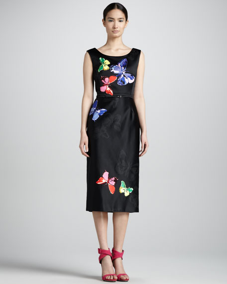 Embroidered Satin Midi Sheath Dress