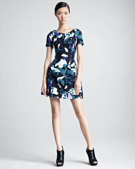 Short-Sleeve Printed Minidress