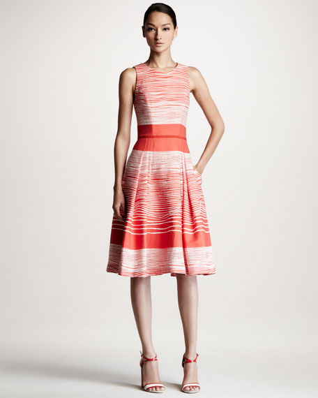 Jacquard Waves A-Line Dress