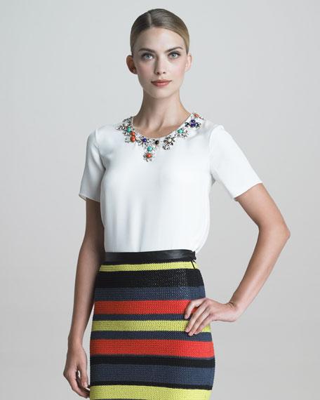 Jeweled-Collar Silk Blouse