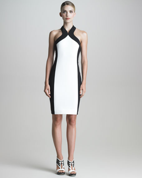 Colorblock Halter Sheath Dress