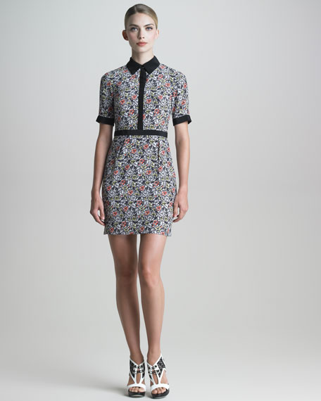 Floral-Print Silk Shirtdress