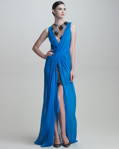 Lace-Underlay Crossover Chiffon Gown