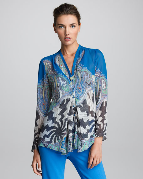 Printed V-Neck Blouse