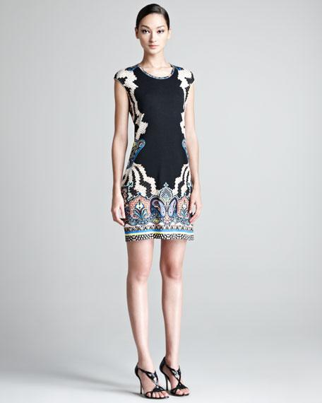 Border-Print Cap-Sleeve Dress