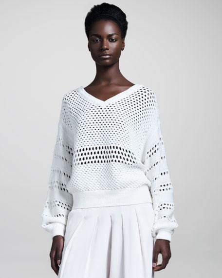 Mesh-Knit Pullover
