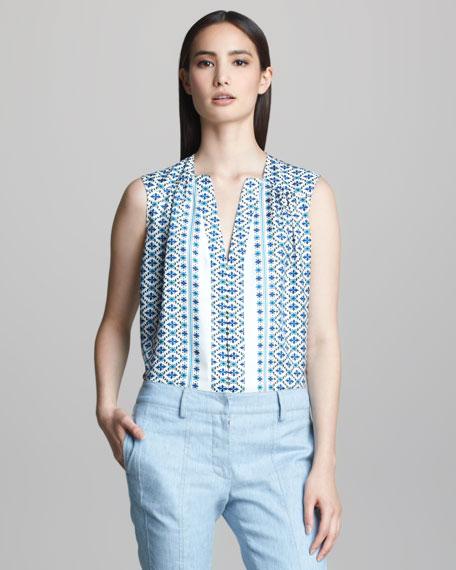 Sleeveless Printed Silk Blouse