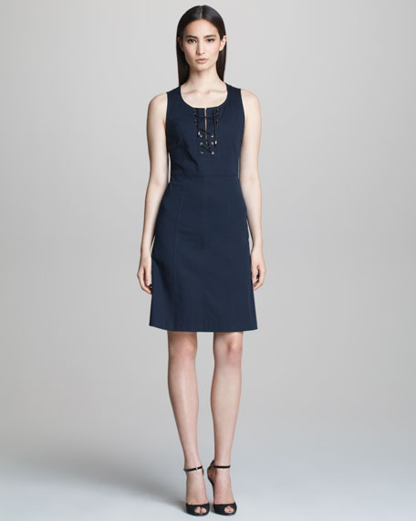 Sleeveless Dress with Lace-Up Neckline