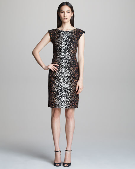 Cap-Sleeve Animal Print Dress
