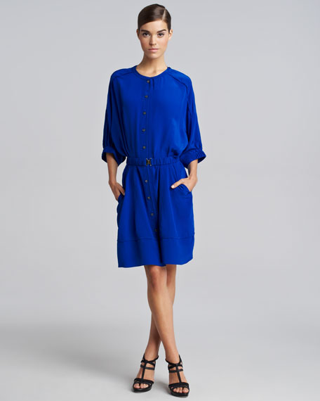 Button-Front Silk Dress, Sapphire