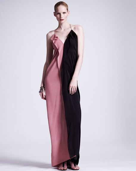 Colorblock Silk Gown