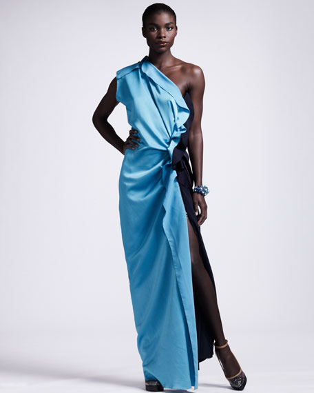 Colorblock One-Shoulder Gown
