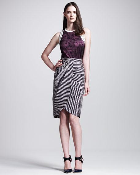 Diagonal-Stripe Wrap Skirt