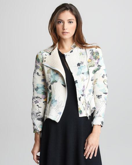 Floral-Print Corded Silk Moto Jacket