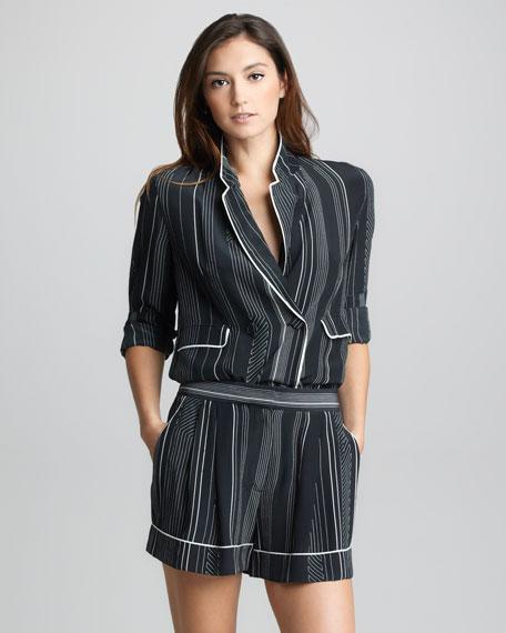 Pinstripe Silk Pajama Shorts