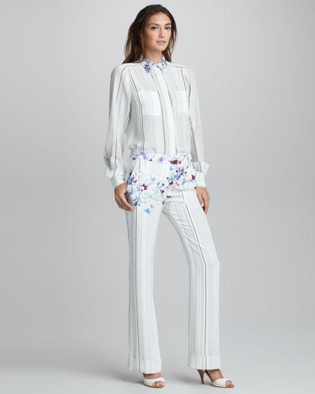 Floral-Print Striped Silk Pants
