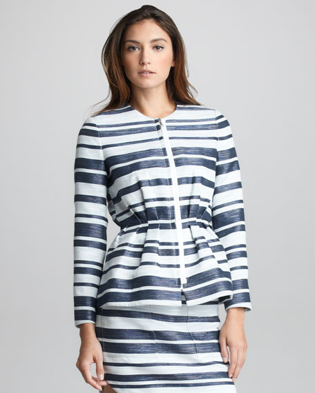 Space-Dye Striped Suit Jacket