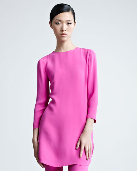 Marcy Three-Quarter-Sleeve Silk Tunic