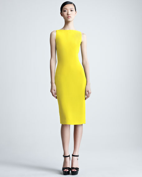 Charisse Silk Cady Dress, Yellow