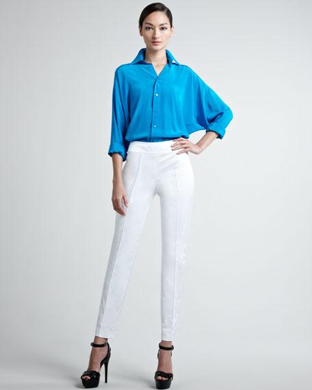 Farren Cotton Sateen Pants, White