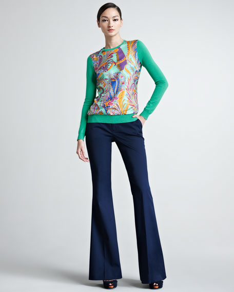 Allegra Boot-Cut Gabardine Pants, Navy
