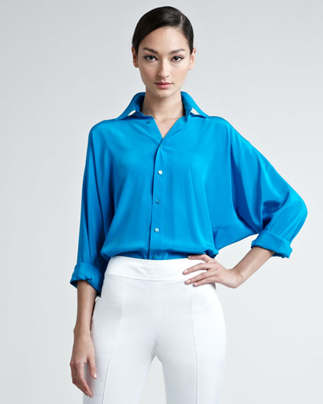 Pierson Dolman-Sleeve Button-Down Blouse, Blue