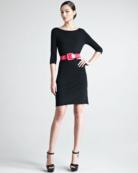 Three-Quarter-Sleeve Fine Knit Dress