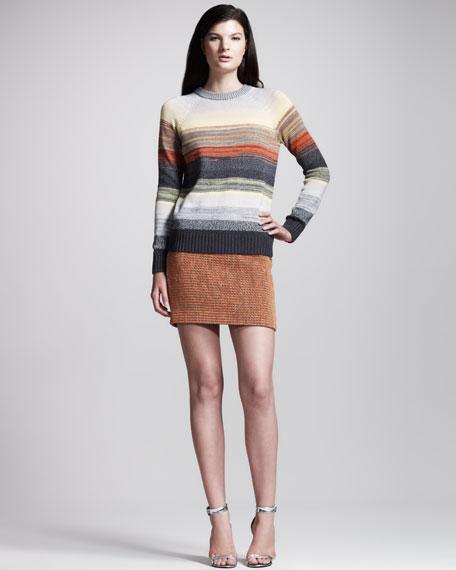 Basket-Weave Tweed Skirt