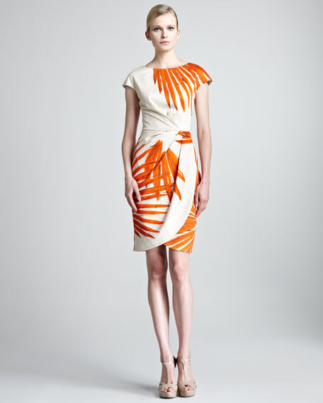 Brush-Print Ruched Dress