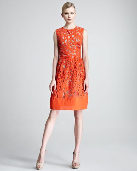 Etched Cutout Sheath Dress