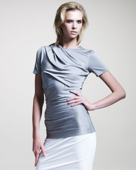 Shiny Draped Jersey Top
