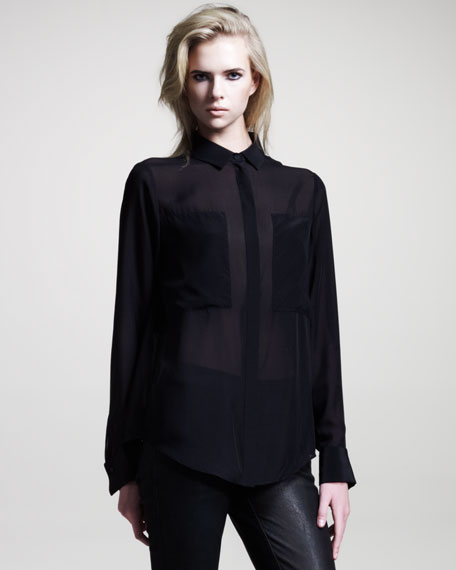 Silk Combo Blouse, Black